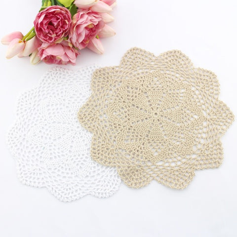 CROCHET DOILIES WHITE AND CREAM 28 - 30CM