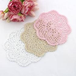 CROCHET DOILIES WHITE , CREAM AND LIGHT PINK 20 - 21 CM