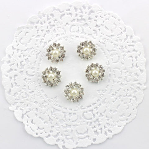 22 MM RHINESTONE AND PEARL BUTTONS WITH CREAM PEARLS X 5