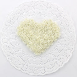IVORY CHIFFON ROSETTE HEART APPLIQUES