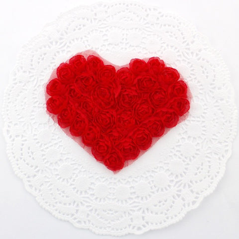 RED CHIFFON ROSETTE HEART APPLIQUES
