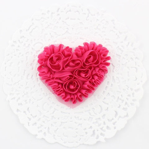SMALL HOT PINK CHIFFON HEART APPLIQUES