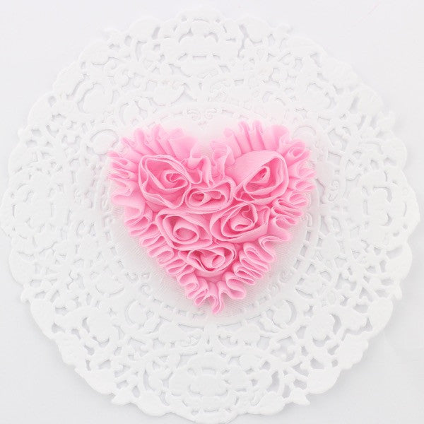 SMALL PINK CHIFFON HEART APPLIQUES