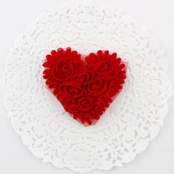 SMALL RED CHIFFON HEART APPLIQUES
