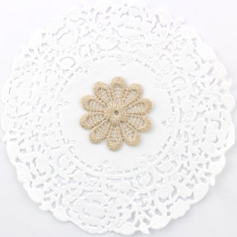 GOLD EMBROIDERED LACE FLOWERS X 4