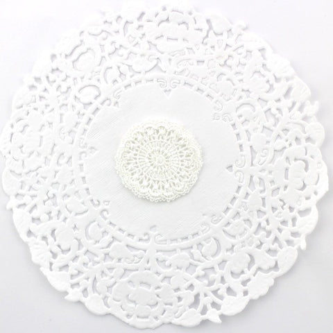 WHITE GUIPURE LACE EMBROIDERED FLOWER X 5