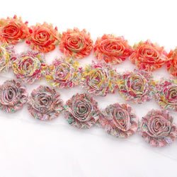 FLORAL SHABBY FLOWER TRIM IN ORANGE, YELLOW AND PINK X 10 FLOWERS