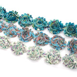 FLORAL SHABBY FLOWER TRIM IN TEAL , BLUE AND PURPLE/GREEN X 10 FLOWERS
