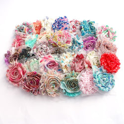 MIXED PATTERN SHABBY FLOWER PACK X 10 FLOWERS