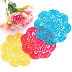 CROCHET DOILIES YELLOW , BLUE AND HOT PINK 20 - 22 CM