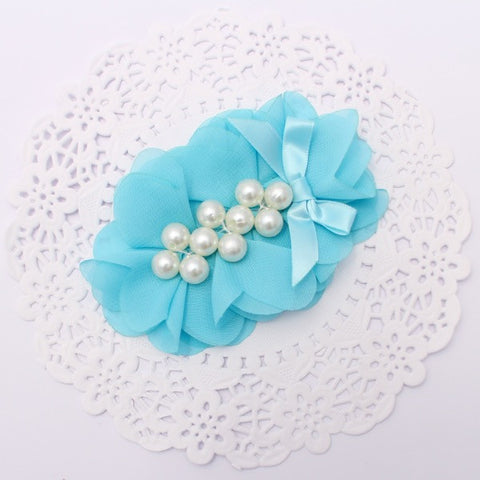 """SOPHIA"" OVAL CHIFFON AND PEARL FLOWER"