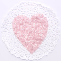 SMALL LIGHT PINK HEART SEQUIN APPLIQUE