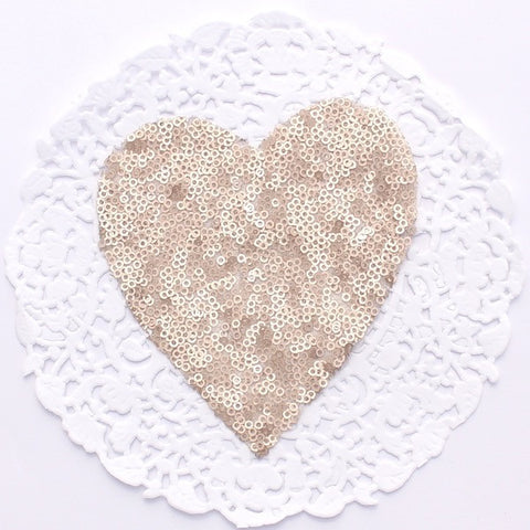 SMALL CHAMPAGNE HEART SEQUIN APPLIQUE