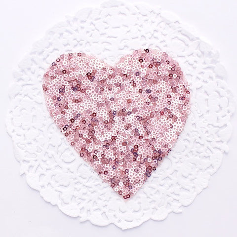 SMALL PINK HEART SEQUIN APPLIQUE