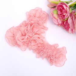 CHIFFON RUFFLED NECK APPLIQUE IN VINTAGE PINK