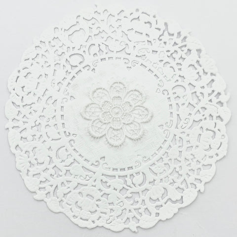 WHITE EMBROIDERED FLOWER X 4