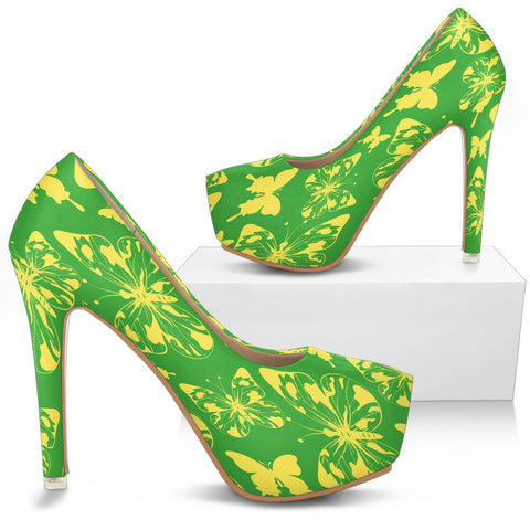 Creative Kickz Shoes Butterflies Green Heels