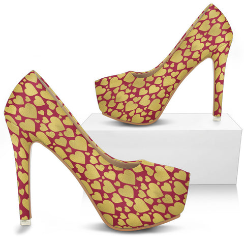Creative Kickz Shoes Gold Hearts Heels
