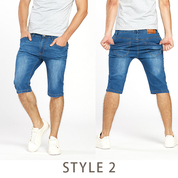 6e553922583 Drizzte Brand Mens Summer Stretch Lightweight Thin Denim Jeans Short for Men  Jean Shorts Pants Plus