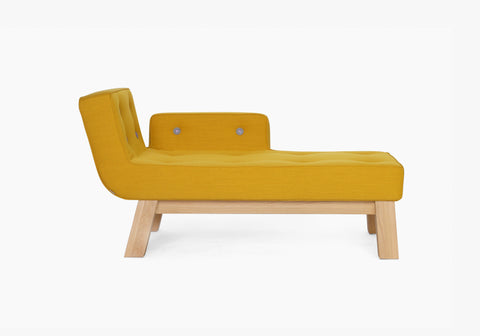 Yellow Diva MCL upholstered buttoned chaise longue timber legs