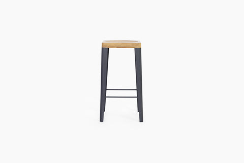 Yellow Diva WBS3 solid timber mid bar stool coloured steel legs