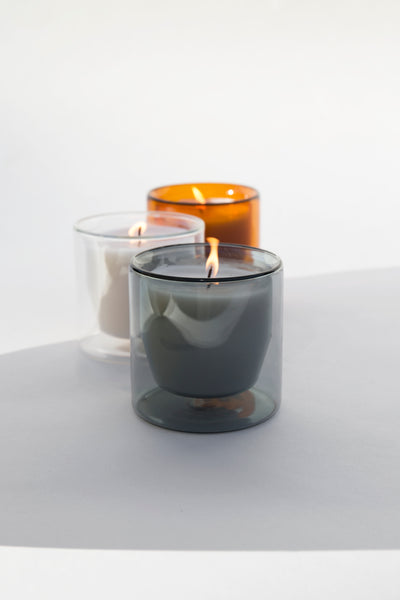 Double walled reusable glass candles