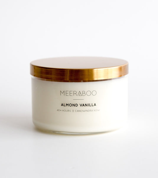 almond vanilla candle, Meeraboo candles, handmade soy candles, candles australia, buy from the bush