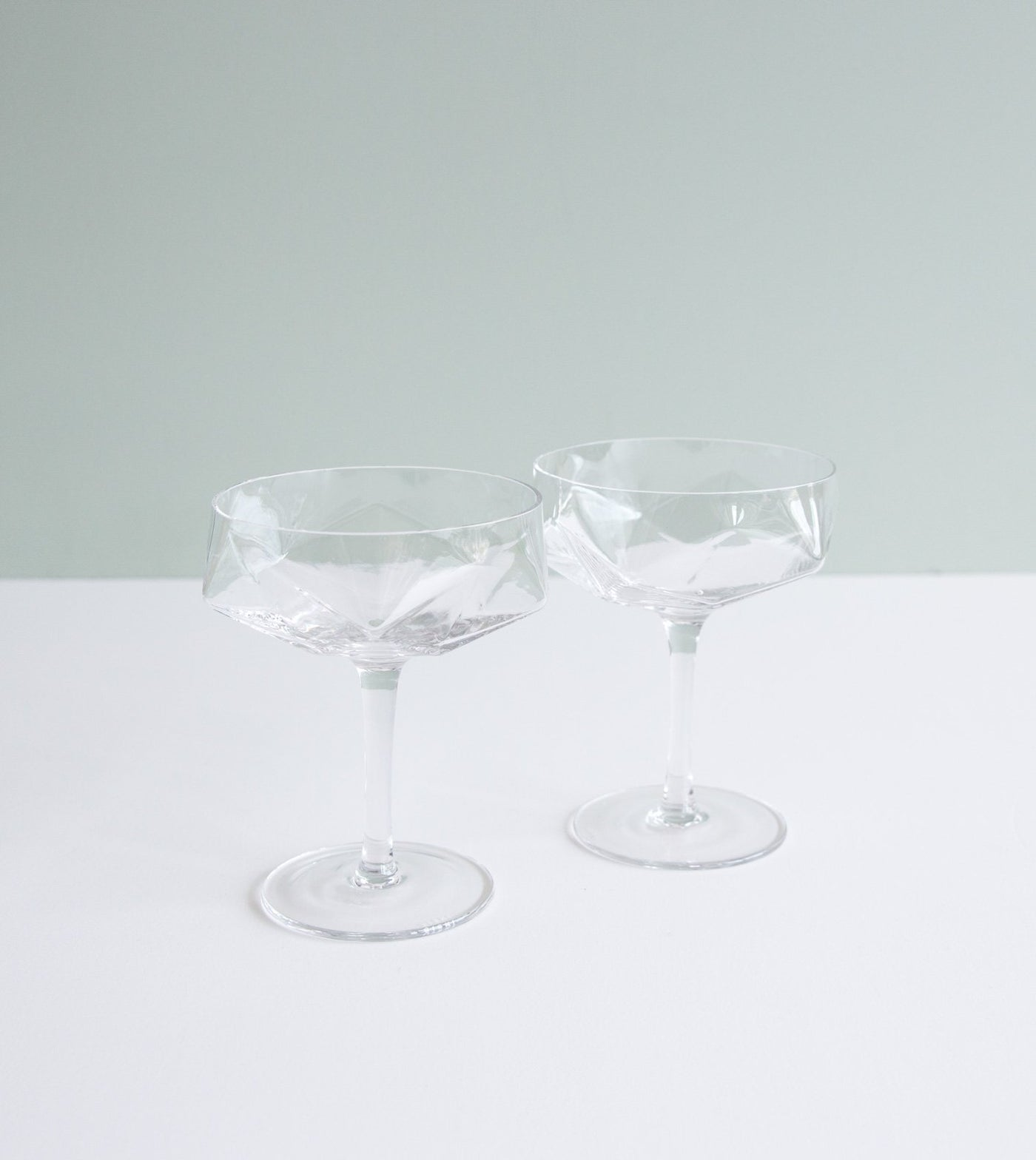 Diamond Coupe Glass Set Of 2