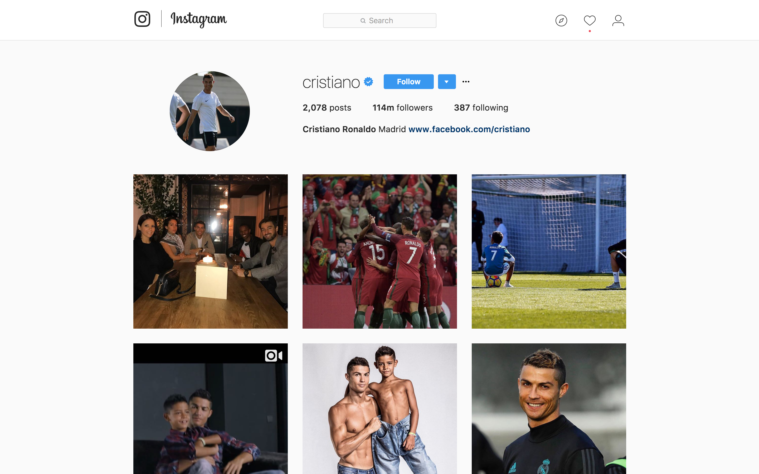 Instagram of Cristiano Ronaldo