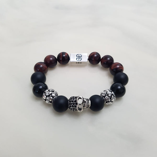 Skulls Red Tiger Onyx Mix, Bracelets - Embrace SG