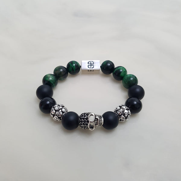 Skulls Green Tiger Onyx Mix, Bracelets - Embrace SG