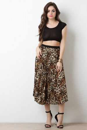 Leopard High Waisted Pleated Midi Skirt - Eunique Essentials