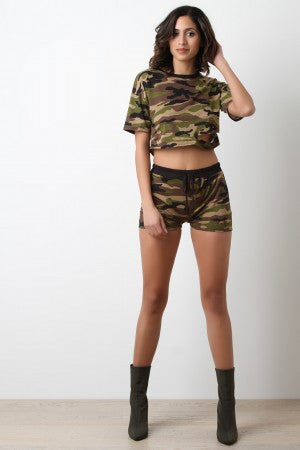 Distress Camouflage Jersey Knit Shorts - Eunique Essentials