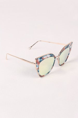 Printed Plastic And Metal Frame Mirrored Cat Eye Sunglasses - Eunique Essentials