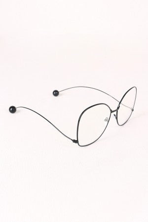 Oversized Clear Lens Ball Accent Butterfly Glasses - Eunique Essentials