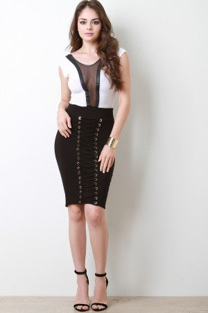 Stretchy High Waist Front Eyelet Lace-Up Skirt - Eunique Essentials