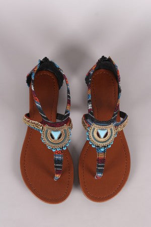 City Classified Tribal Beaded Hardware Accent Thong Flat Sandal - Eunique Essentials