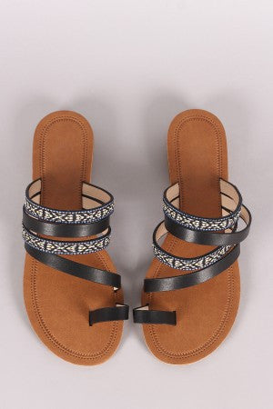 Tribal Embroidery Toe Ring Strappy Slip-On Sandal - Eunique Essentials