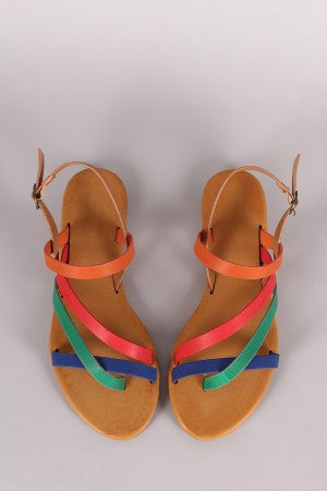 Bamboo Asymmetrical Strappy Slingback Flat Sandal - Eunique Essentials