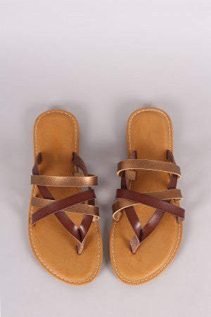 Bamboo Strappy Two Tone Thong Flat Sandal - Eunique Essentials
