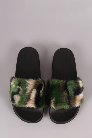 Faux Fur Camouflage Open Toe Slide Sandal - Eunique Essentials