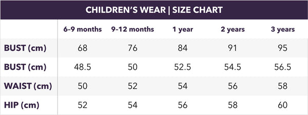 Childrenswear size chart