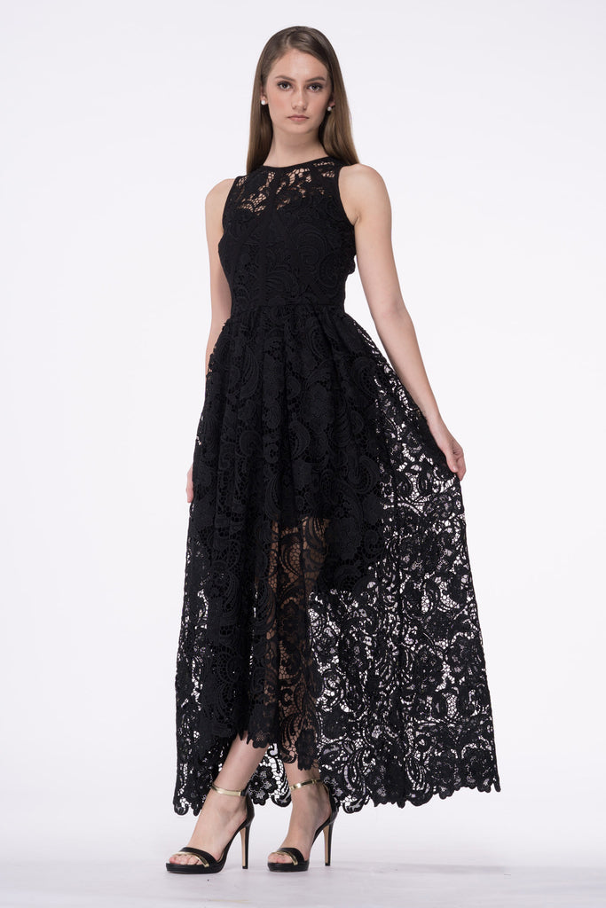 Guipure Lace Flare Maxi Gown