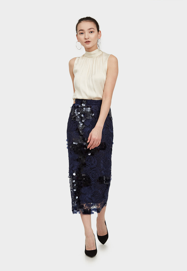 Amy Cord-lace Midi Skirt