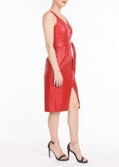 RED VEGAN LEATHER DRESS
