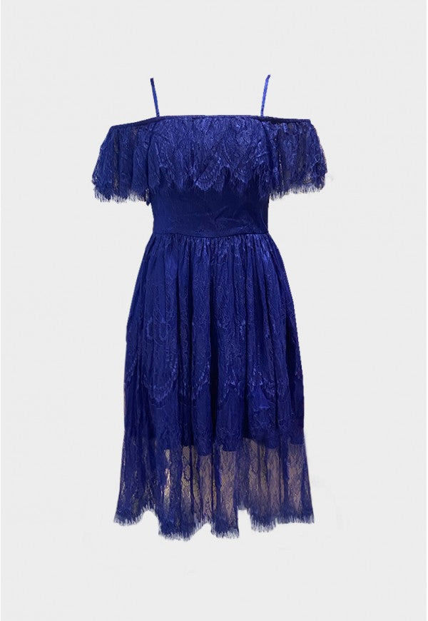 Bella Deep Blue Chantilly Lace Dress