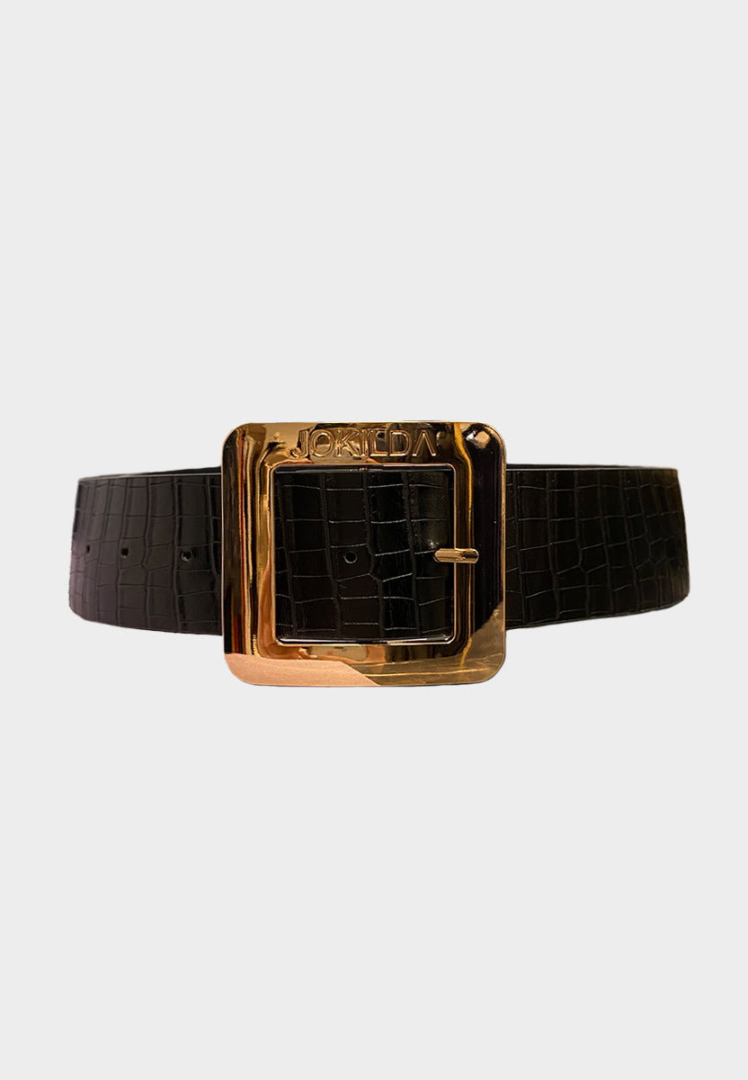 Limited Edition Jo Kilda Vegan Leather Statement Belt in Black