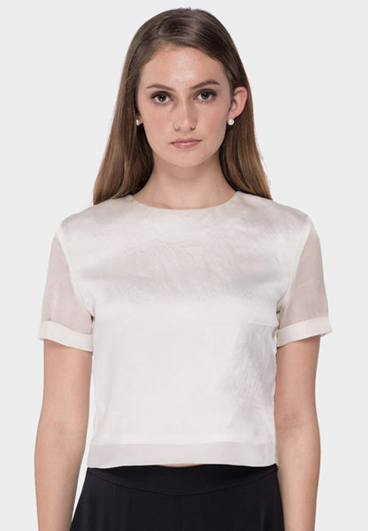 Cuffed Silk Organza Top