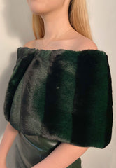 Striped Green Fur Off-Shoulder Sash