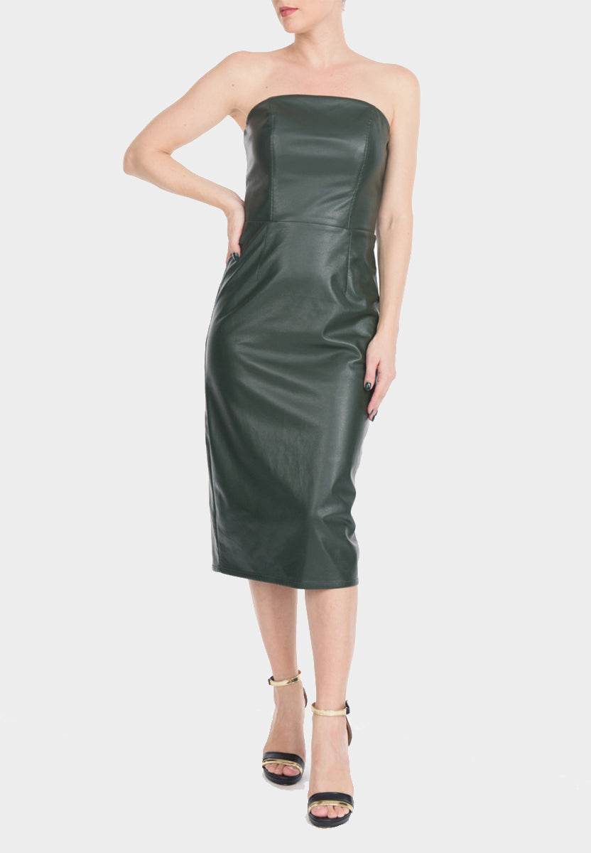 Green Vegan Leather Dress